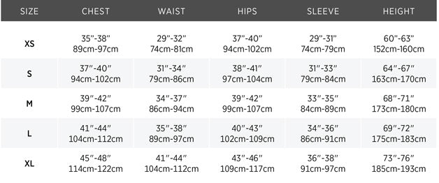 Size chart for Meris Sailing Jacket