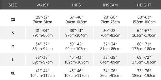 Size chart for Meris Sailing Salopettes