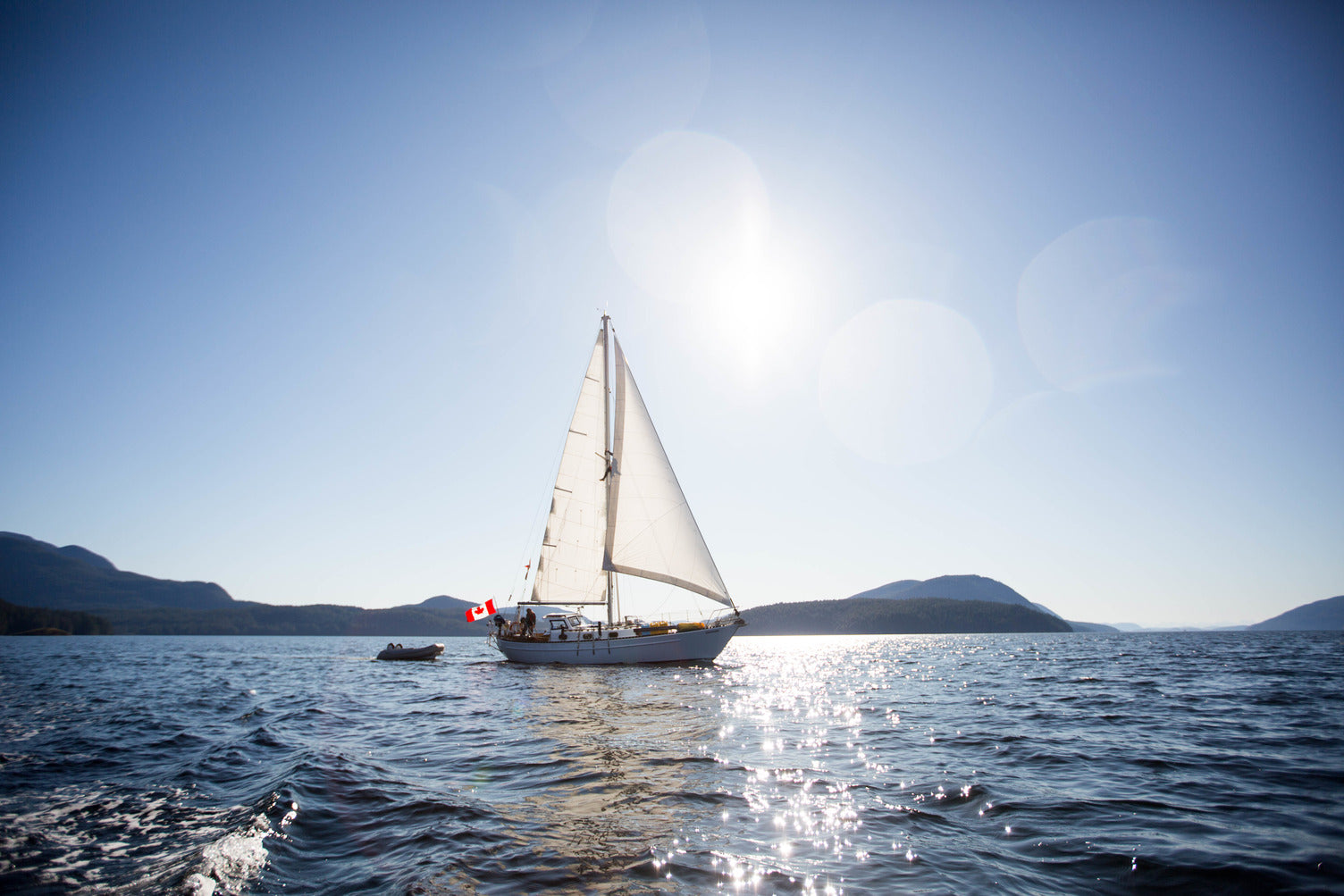 sail boat gliding in BC waters