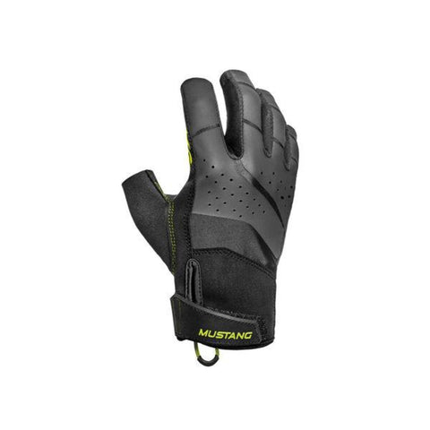 MA6002 Traction Open Finger Gloves Black-Fluorescent Yellow Green