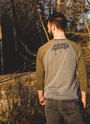 Hesitation Kills 3/4 Sleeve - Military Green & Heather Gray