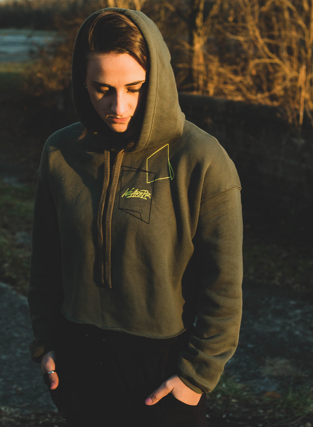 Crop Fleece Hoodie - Military Green