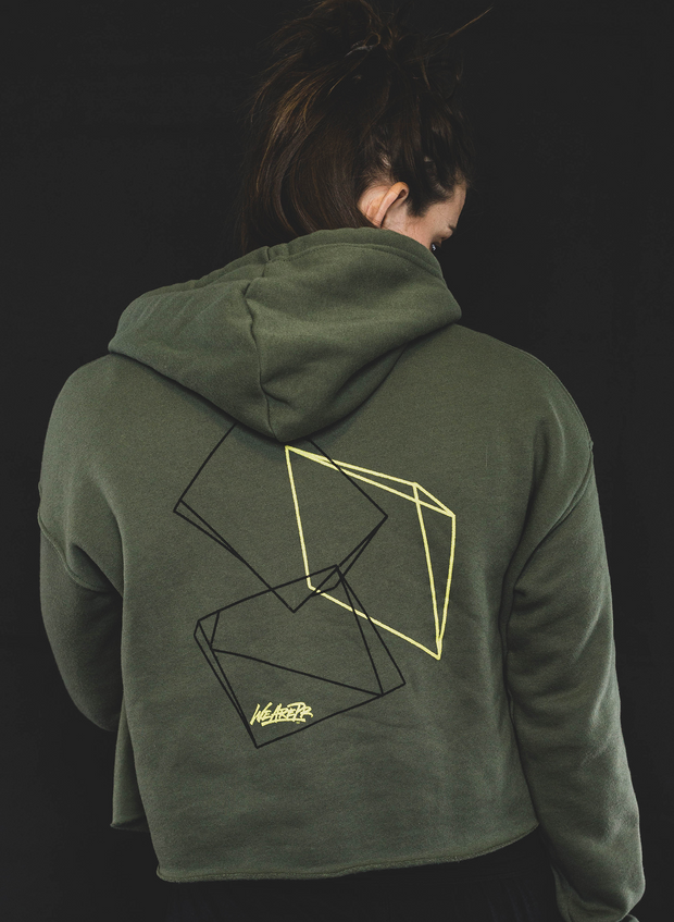 Women's Geometric Fleece Crop Hoodie - Military Green