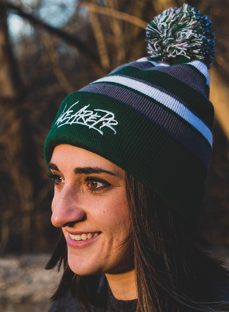 WeArePR Embroidered Beanie - Forest Green, Graphite & White