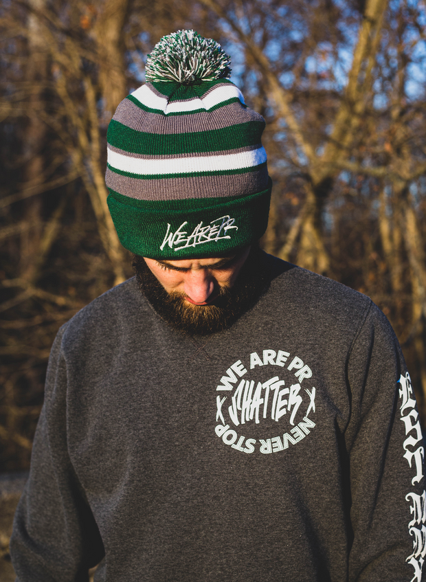 WeArePR Comeback Beanie - Forest Green, Graphite & White