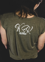 Women's Kind Strong Resilient Muscle T-shirt - Heather Olive