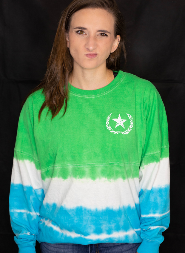 Women's University Recovery Tee - Lime & Maui Blue Tie-dye