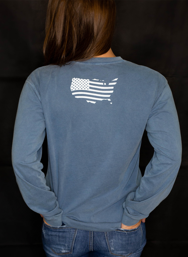 USA Flag Long Sleeve Crew - Inspired Dye Blue Jean