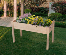 Load image into Gallery viewer, Outdoor Patio Wooden Raised Garden Bed Elevated Planter Flower Box Natural Color
