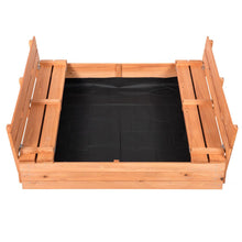 Load image into Gallery viewer, Outdoor Sandbox Covered Bench Seats Kids Play Sand Box Natural Cedar Wood 47X47