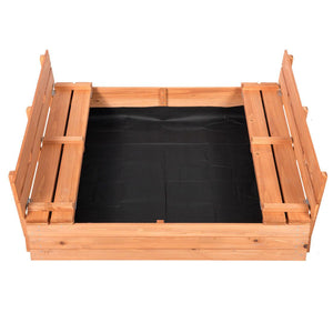 Outdoor Sandbox Covered Bench Seats Kids Play Sand Box Natural Cedar Wood 47X47