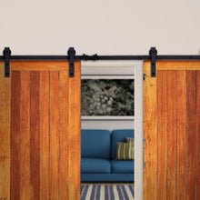 Load image into Gallery viewer, NEW 12' FT Dark Coffee Antique Double Sliding Barn Door Steel Track Hardware Set
