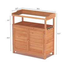 Load image into Gallery viewer, GDLF Outdoor Garden Patio Solid Wood Storage Cabinet Waterproof  Potting Bench Table