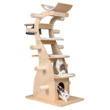"Load image into Gallery viewer, 63"" Modern Cat Condo Tree House Scratching Post Tower Deluxe Wood Furniture"