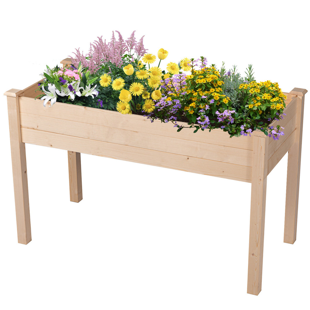 Raised Garden Bed Outdoor Patio Natural Wood Elevated Planter Flower Box Easy Assembly