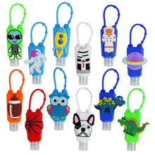 Load image into Gallery viewer, 12 Pack Mini Kids Hand Sanitizer Refillable Bottle Holders Reusable Travel Boys