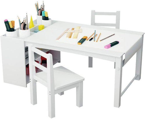 Kids Art Table Activity Play Center with Storage Shelf Playroom Table Chair Set