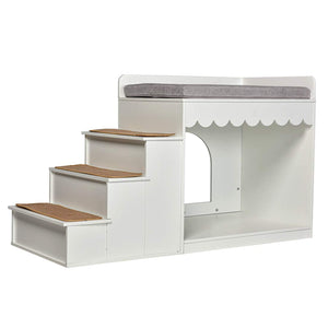 Indoor Pet Multi-Level Bed Wood Stairs Bunk Bed Combination Cat Condo Dog White