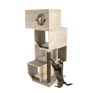 "GDLF 49"" Modern 4 Tier Cat Tree Condo Tower Scratching Post Solid Wood Furniture Deluxe Cat Tree Condo Tower Scratching Post"