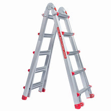 Load image into Gallery viewer, EN131 5X4 Adjustable 17 FT Aluminum Telescoping Multi-Position Multi-Use Ladder