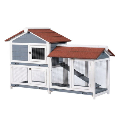 Two Floors Wood Outdoor Indoor Waterproof Bunny Hutch Rabbit Cage Pet House