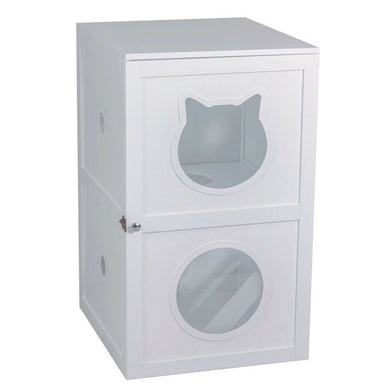 2 Story Pet Crate Cat Litter Box Enclosure Furniture Cat House Large Box Table