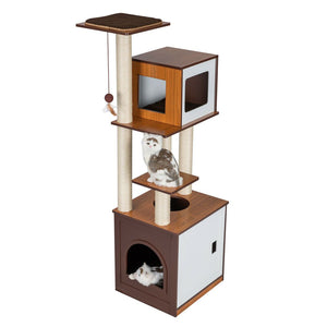 "60"" H Modern Style Deluxe Wood Cat Tree Furniture w/ Washroom Condo Play Tower"