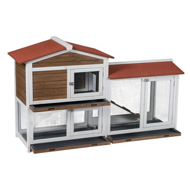 2 Floor Wood Outdoor Indoor Roof Waterproof Bunny Hutch Rabbit Cage Pet House