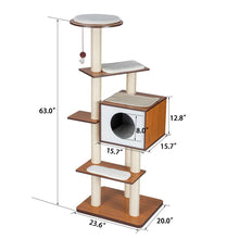 "Load image into Gallery viewer, 63"" H Modern Style Deluxe Wood Cat Tree Furniture w/ House Condo Climbing Tower"