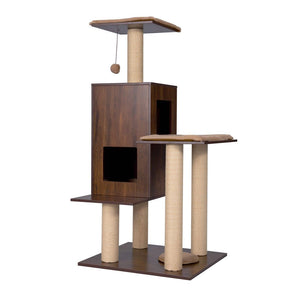 Good Life Modern Deluxe Cat Tree House with Scratching Post – Solid Wood Design 49 inch Condo Play Center