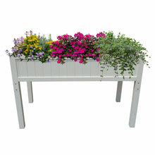 Load image into Gallery viewer, Foldable Patio Garden Bed Elevated Planter Wood High & Low Flower Box White