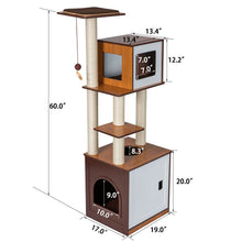 "Load image into Gallery viewer, 60"" H Modern Style Deluxe Wood Cat Tree Furniture w/ Washroom Condo Play Tower"