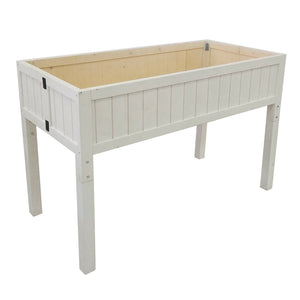 Foldable Patio Garden Bed Elevated Planter Wood High & Low Flower Box White