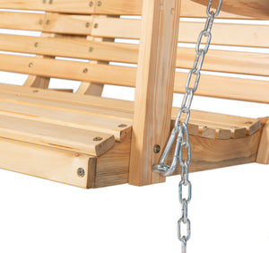 Wooden Porch Swing Outdoor Patio Hanging Bench Garden Seat Foldable Cup Holder
