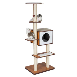 "63"" H Modern Style Deluxe Wood Cat Tree Furniture w/ House Condo Climbing Tower"