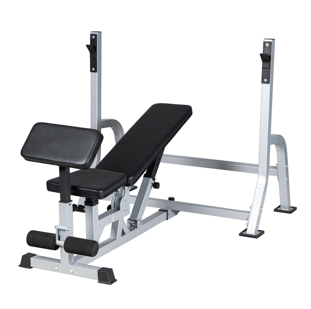Weight Bench Set Multifunctional Press Bar Rack Adjustable Workout