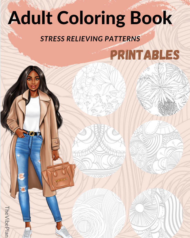 Printable Adult Coloring Book | Stress Relieving Patterns