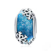 Winter Snowflake Blue Murano Glass Beads
