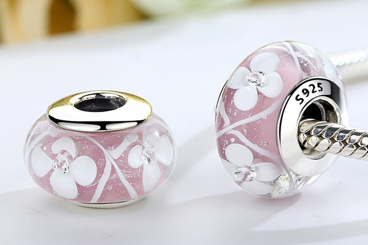 Pink Flowers Murano Glass Beads
