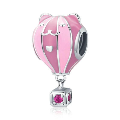 Pink cat balloon charm