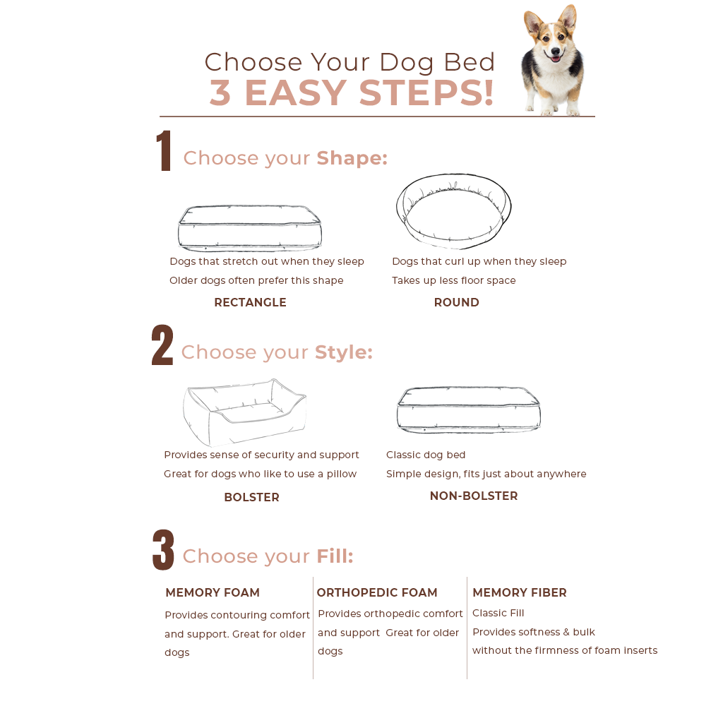 dog bed selector infographic