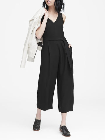 Cropped V-Neck Jumpsuit in Black