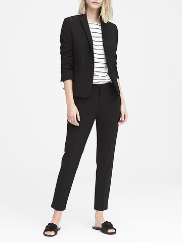 Petite Classic-Fit Italian Wool-Blend Blazer in Black