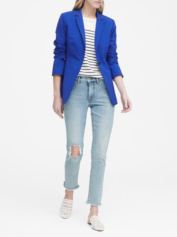 Long and Lean-Fit Wool-Blend Blazer in Cobalt Blue