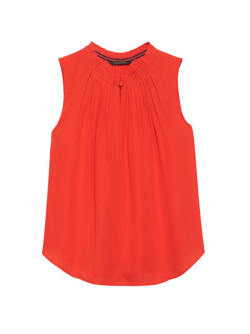 Pleated Sleeveless Top in Hot Red