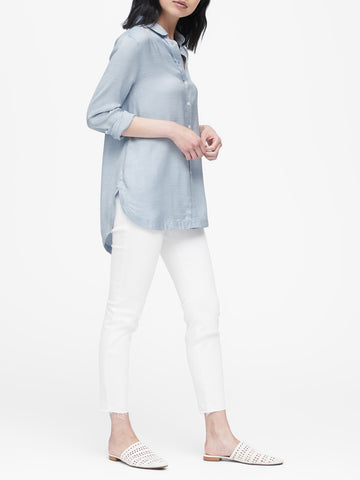 Parker Tunic-Fit Shirt in Light Blue