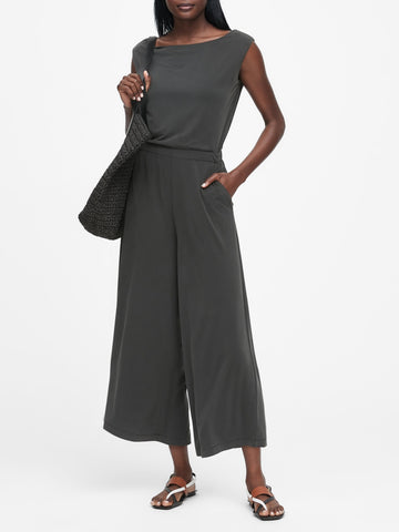 Sandwash Modal Cropped Jumpsuit in Black