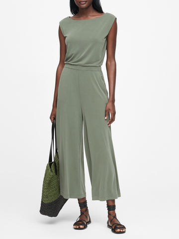 Sandwash Modal Cropped Jumpsuit in Olive Green