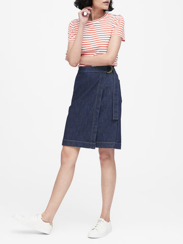 Denim Wrap Skirt in Medium Wash