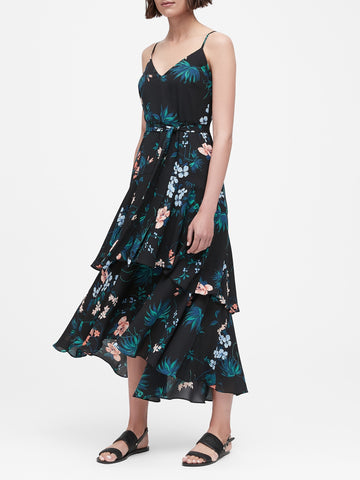 Floral Ruffled Maxi Dress in Black Tropical Floral